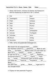 Deutschtest 5. 6. Klasse, Nomen, die 4 Fälle