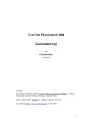 Excel im Physikunterricht - Eine Kurzanleitung