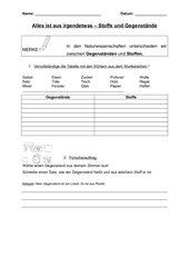 Unterscheidung Stoff - Gegenstand (Arbeitsblatt)