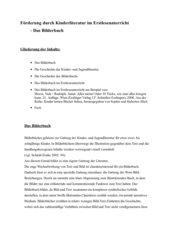 Förderung durch Kinderliteratur im Erstleseunterricht - Das Bilderbuch