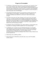 Aufgaben / Fragen zur Handhabung von Personalakten