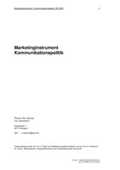 Marketinginstrument - Kommunikationspolitik