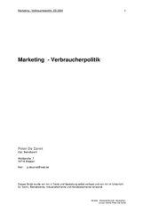 Marketing - Verbraucherpolitik