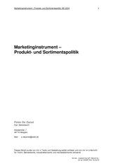 Marketinginstrument - Produkt- und Sortimentspolitik