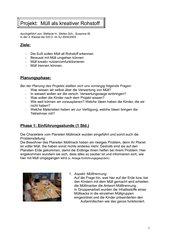 Zusammenfassung Projekt Müll 2. Klasse
