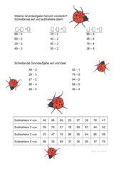 Subtraktion einstelliger Zahlen ohne Überschreiten