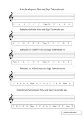 Übungsblatt zum Notenerlernen