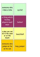 Englisches Zuordnungsspiel/Memo-Spiel zum Thema Sport