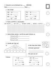 1. Probearbeit aus der Mathematik 4. Klasse