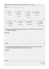 Mathearbeit - Schriftliche Addition und Subtraktion