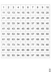 Hunderterfeld mit Zahlen