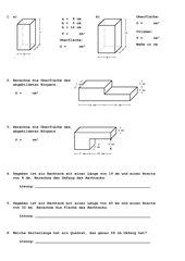 Geometrie Wiederholung 7. Klasse (Oberfläche und Volumen im Prisma/ Fläche und Umfang im Rechteck)