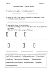 Lernzielkontrolle Verkehrszeichen Klasse 2
