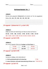 Mathematik-Klassenarbeit 1 Klasse5 BaWü