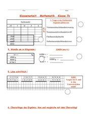 Kontrollarbeit Mathematik Wiederholung Zahlenraum bis 10000