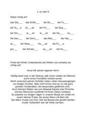 Arbeitsblatt - Wörter mit s/ss/ß
