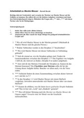 Mackie Messer - Bert Brecht Arbeitsblatt 7. Klasse