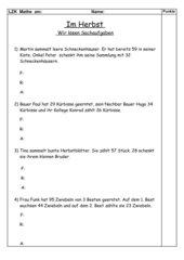 Lernzielkontrolle Sachaufgaben Plus-Minus (3.Klasse)
