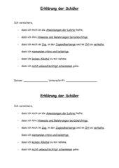 Vertrag zwischen Schülern und Lehrer für die Zeit des Schullandheimaufenthaltes
