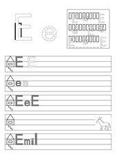 Einfache Arbeitsblätter zu den Buchstaben E/e, M/m, N/n und T/t