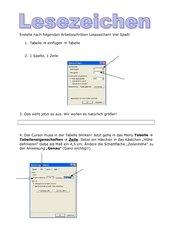 Lesezeichen erstellen mit der Tabellenfunktion in Word