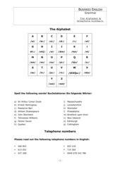 Alphabet + Telefonnummern