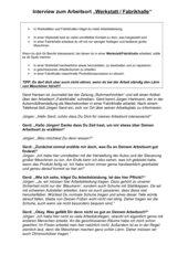 Arbeitsblatt zur Auseinandersetzung mit verschiedenen Arbeitsorten