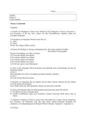 Grammatikklausur mit Lösungsblatt