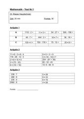 Kopfrechentest (8.Klasse HS/BW)