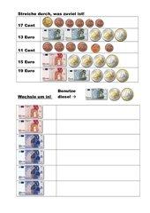Rechnen mit Geld im Zahlenbereich bis 20