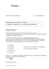 Betriebspraktikum - Anmeldeschreiben für Hospitation durch Lehrer