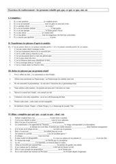 Exercices de renforcement - les pron.rel. simples