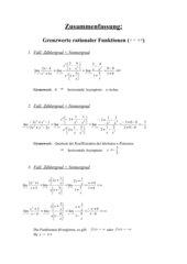 Zusammenfassung: Grenzwerte bei gebrochen rationalen Funktionen
