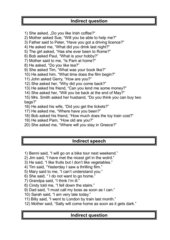 Indirect question - indirect speech
