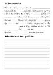 Diktatübungen zu Heinzelmännchen - Text