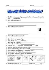 Lernzielkontrolle Kalender / Jahr