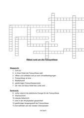 Fotosynthese Kreuzworträtsel 5.Klasse