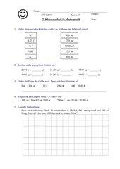 Klassenarbeit zu Größen und Einheiten in der 4. Klasse