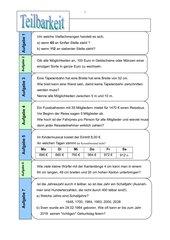 Textaufgaben zur Teilbarkeit - 6 Kl./RS
