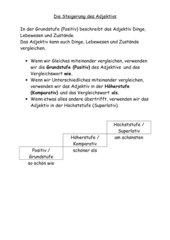 Hefteintrag zur Steigerung des Adjektivs, 4. Klasse
