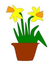 Bastelvorlage Tulpe und Osterglocke