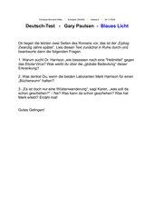 Deutsch-Test zu Gary Paulsen, Blaues Licht