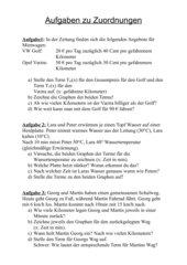 (Text-)Aufgaben zu Zuordnungen