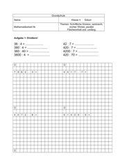 Mathematikarbeit: schriftliche Division, Geometrie Klasse 4