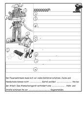Arbeitsblatt zu Feuerwehr - Ausrüstung des Feuerwehrmannes
