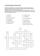 Termumformungen Kreuzworträtsel