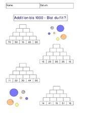Addition bis 1000 - Bist du fit? AB 1 - mit Lösungen