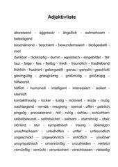Adjektivliste für Beschreibung / Charakterisierung
