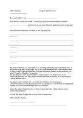 Elternbrief - Ausschluss vom Experimentieren