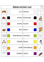 Freiarbeitsblätter sch- und ch-Laute (Wörter)